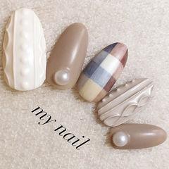 圆形裸色白色格纹毛衣纹珍珠编织毛衣美甲美甲图片