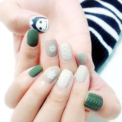 方圆形绿色灰色手绘雪人毛衣纹磨砂美甲图片