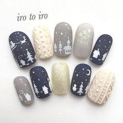 圆形蓝色灰色白色手绘毛衣纹圣诞圣诞美甲编织毛衣美甲美甲图片