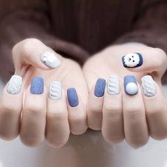 方圆形蓝色灰色毛衣纹珍珠磨砂可爱美甲图片