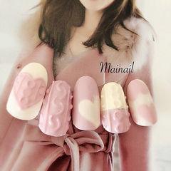 圆形粉色白色手绘心形毛衣纹编织毛衣美甲旺桃花美甲粉色系美甲美甲图片