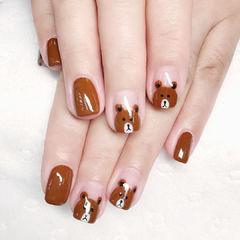 方圆形焦糖棕手绘可爱小熊棕色系美甲焦糖色美甲美甲图片