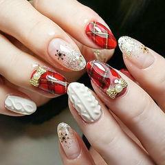 圆形红色白色格纹珍珠毛衣纹圣诞美甲图片