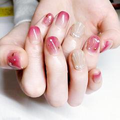 方圆形粉色渐变贝壳珍珠星月日式美甲图片