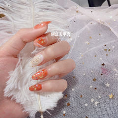 尖形橙色白色金属饰品星月日式粉丝投稿:Cammi美甲图片
