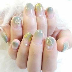 圆形绿色渐变金箔干花春天日式美甲图片