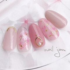 圆形粉色裸色贝壳片金箔金属饰品日式春天少女心美甲样板集日系美甲新款美甲图片