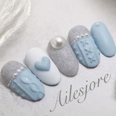 圆形蓝色灰色手绘毛衣纹心形珍珠磨砂美甲图片