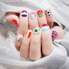 方圆形红色蓝色白色绿色手绘可爱短指甲世界杯美甲分享ins美图美甲图片