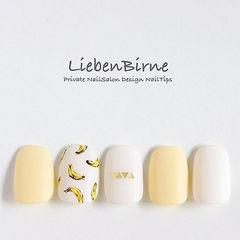 方圆形白色黄色手绘夏天水果香蕉美甲图片
