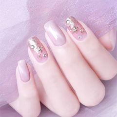 方圆形粉色猫眼星月新娘美甲图片