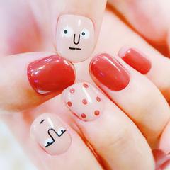 方圆形红色裸色手绘可爱韩式表情波点美甲图片