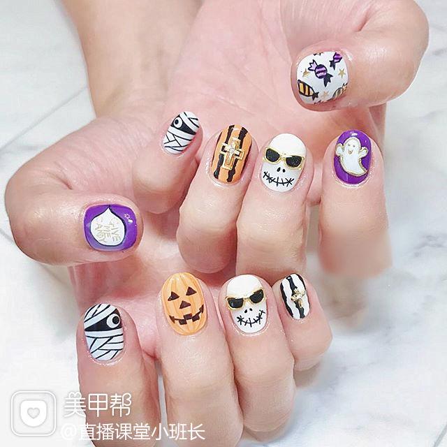 圆形紫色橙色白色黑色手绘可爱万圣节短指甲美甲图片