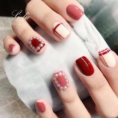 方圆形红色白色粉色线条珍珠美甲图片
