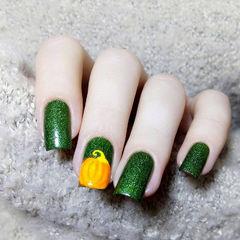 方圆形绿色橙色南瓜美甲图片