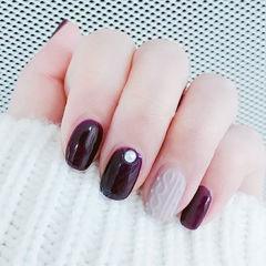 方圆形紫色裸色毛衣纹珍珠美甲图片