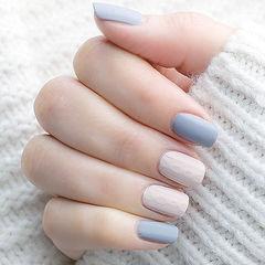 方圆形灰色白色毛衣纹磨砂美甲图片