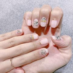 方圆形粉色金银线钻毛衣纹美甲图片