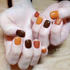 方圆形橙色南瓜色跳色橙色系美甲美甲图片