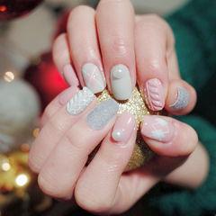 方圆形灰色粉色白色毛衣纹珍珠菱形美甲图片