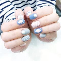 方圆形粉色蓝色灰色毛衣纹菱形磨砂编织毛衣美甲美甲图片