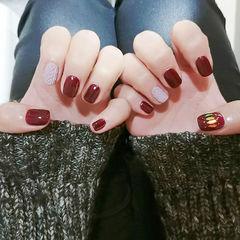 方圆形红色灰色毛衣纹亮片编织毛衣美甲亮片美甲美甲图片