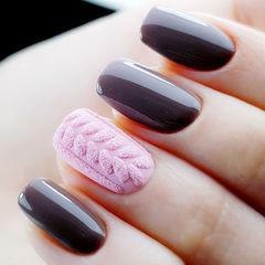 方圆形粉色毛衣纹美甲图片