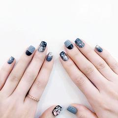 方圆形蓝色灰色银色雪花毛衣纹美甲图片