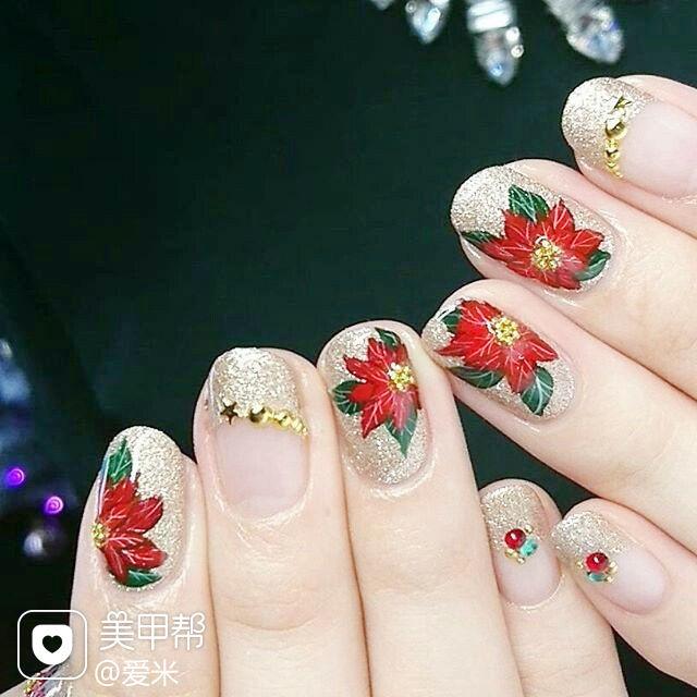 圆形红色金色手绘花朵新娘法式美甲图片