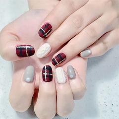 圆形酒红色白色灰色格纹毛衣纹磨砂珍珠美甲图片