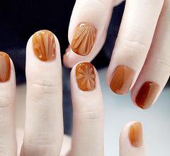 方圆形焦糖色贝壳日式美甲图片