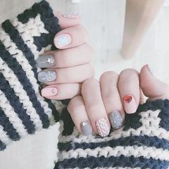 方圆形灰色粉色钻毛衣纹雪花磨砂美甲图片