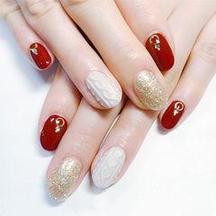 圆形红色金色白色毛衣纹跳色新年美甲图片