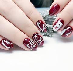 圆形红色白色手绘可乐北极熊可乐美甲美甲图片