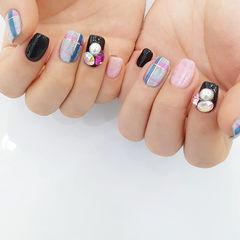 粉色蓝色韩式可爱圆形方圆形钻格纹毛衣甲+丝绒胶美甲图片