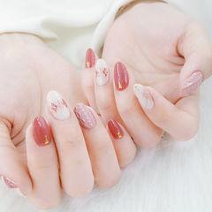 圆形红色白色粉色菱形毛衣纹美甲图片