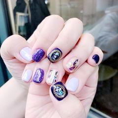 方圆形紫色贝壳片金箔美甲图片