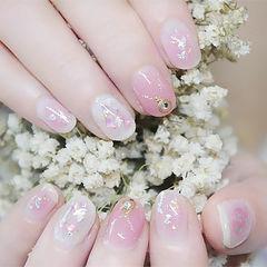 圆形粉色贝壳片金箔日式新娘少女心美甲图片