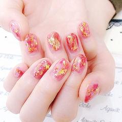 圆形粉色金箔碎玻璃日式新娘美甲图片