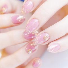圆形粉色新娘日式金箔金属饰品美甲图片
