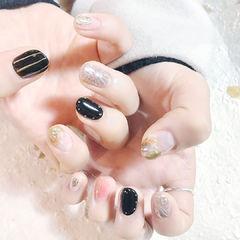 圆形黑色银色粉色金箔美甲图片