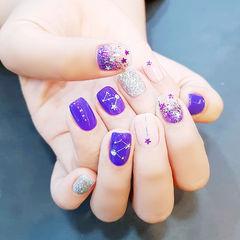 方圆形紫色银色闪粉亮片星月美甲图片