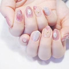 圆形粉色裸色日式水波纹美甲图片