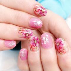 圆形粉色手绘花朵日式贝壳片美甲图片
