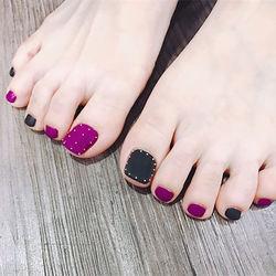 脚部紫色黑色磨砂跳色深色系脚甲跳色脚甲臻选美图纪念册美甲图片