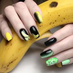 方圆形黑色黄色绿色渐变手绘水果香蕉奇异果竖形渐变美甲图片