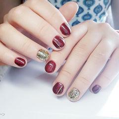 圆形红色金色新娘短指甲美甲图片