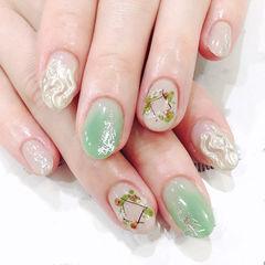 圆形银色绿色手绘干花水波纹日式夏天美甲图片