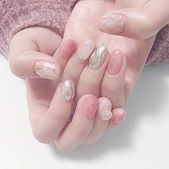 圆形粉色银色贝壳片金箔日式水波纹美甲图片