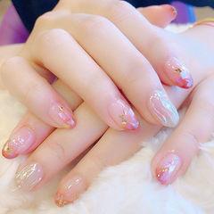 圆形粉色裸色贝壳片金箔日式水波纹金箔美甲水波纹美甲美甲图片